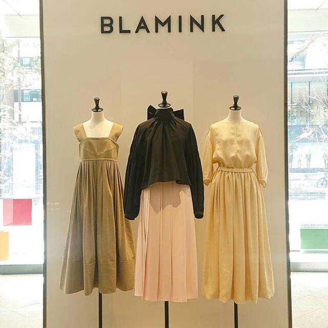 Drawer(ドゥロワー)のBLAMINK ブラミンク ベージュ ボリューム フレア ワンピース 今季 38 レディースのワンピース(ロングワンピース/マキシワンピース)の商品写真