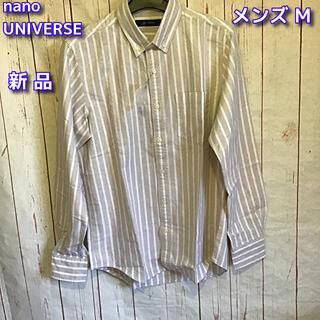 nano・universe - nano UNIVERSE 長袖BDシャツ メンズM Lブラウン×ホワイトライン