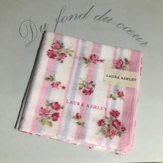 ローラアシュレイ(LAURA ASHLEY)のローラアシュレイ ハンカチ 新品 ピンク バラ ギフト ガーゼ タオル(ハンカチ)