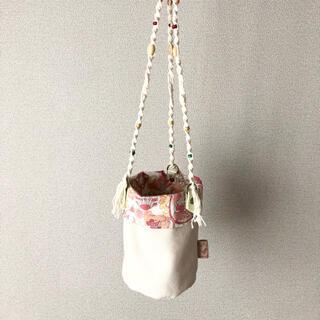 帆布×リバティ×マクラメ編みの吊り下げ鉢カバー(その他)