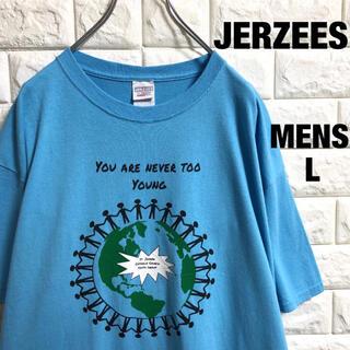 アメリカ古着 ジャージーズ 地球プリント Tシャツ メンズLサイズ(Tシャツ/カットソー(半袖/袖なし))