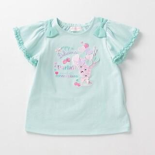 mezzo piano - メゾピアノ Tシャツ パフェ刺繍肩リボン