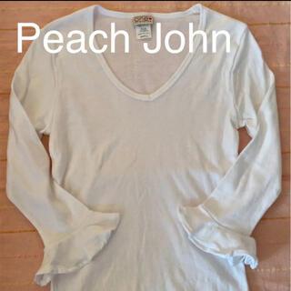 ピーチジョン(PEACH JOHN)の☆ピーチジョン PJ  カットソー 白   Sサイズ(Tシャツ(長袖/七分))