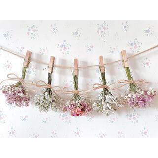 3種のピンクのバラのふんわりドライフラワーガーランド♡スワッグ♡ミニブーケ♡(ドライフラワー)