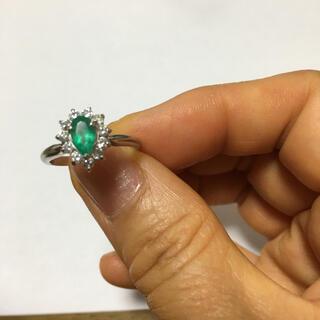 ジュエリーマキ(ジュエリーマキ)のエメラルド0.45ct ダイヤPTリング(リング(指輪))