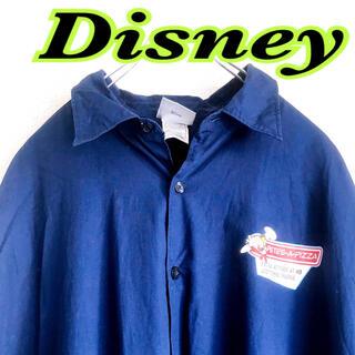 Disney - ディズニー メンズ 半袖 ピート ワークシャツ 紺色 2XL USA 古着