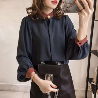 韓国ファッション パフスリーブ比翼シャツ ノーカラーシャツ ネイビー