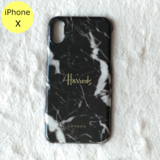 ハロッズ(Harrods)のセール中♪ Harrods 大理石柄 ハード iPhoneケース X ブラック(iPhoneケース)