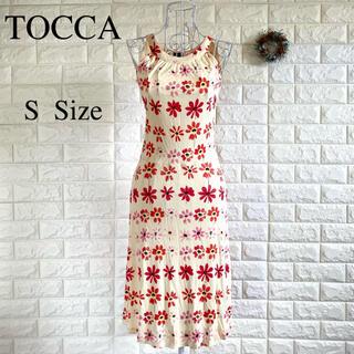 TOCCA - TOCCA トッカ ワンピース ミモレ丈 花柄 ベージュ S 美ライン