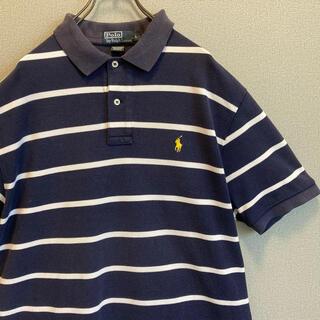 POLO RALPH LAUREN - 90s ラルフローレン ボーダー 刺繍 ポロシャツ ゆるだぼ vintage