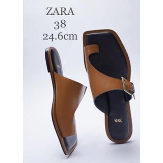 ZARA - 【新品・未使用】ZARA レザー アシンメトリー フラット レザー サンダル