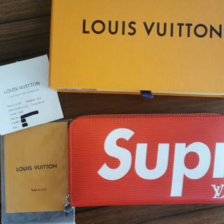 LOUIS VUITTON - LOUIS VUITTON SUPREME ルイ・ヴィトラウンドファスナー長財布