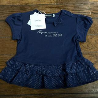 ベベ(BeBe)のチュニック Tシャツ べべ 新品 リボン フリル ネイビー(Tシャツ/カットソー)