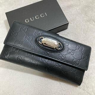 Gucci - GUCCI グッチ 長財布 コインケース レザー GG型押し ブラック 黒木