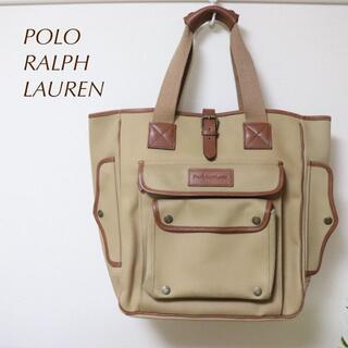 ポロラルフローレン(POLO RALPH LAUREN)の美品 ラルフローレン ラギッドレザー×キャンバスコンビトートバッグ(トートバッグ)