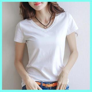 Tシャツ 半袖 レディース  カットソー Vネック シンプル 夏 L 白 黒