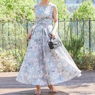 seventen セブンテン スクエアネックプリントドレス Sサイズ グレー