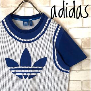adidas - 古着adidas青トレフォイルデカロゴ  ドット柄Tシャツ