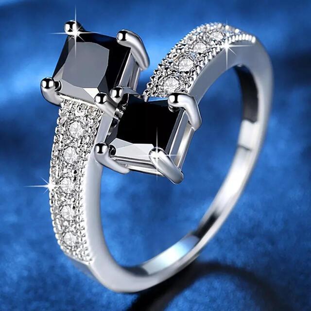リング 指輪 レディース キュービックジルコニア 黒 新品 レディースのアクセサリー(リング(指輪))の商品写真