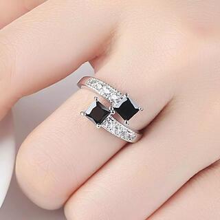 リング 指輪 レディース キュービックジルコニア 黒 新品