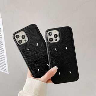 iPhone12/12pro/12mini対応 刺繍 レザー カバー  ブラック