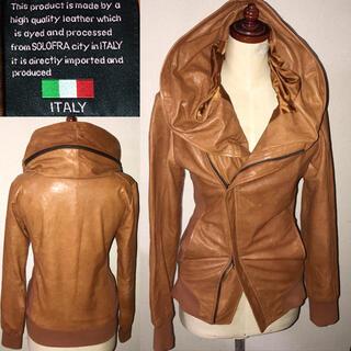 イタリア羊皮革ラム送料込ボリュームネック細身レザージャケットSドメスセレクト系