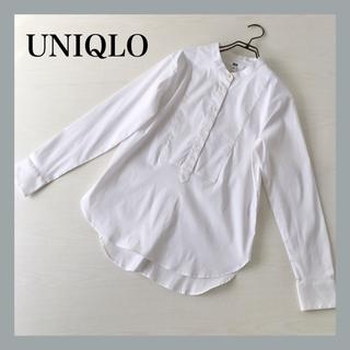 UNIQLO - 【新品】ユニクロ UNIQLO スーピマコットンスタンドシャツ 長袖 白 M