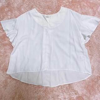 フレアスリーブトップス ホワイト(シャツ/ブラウス(半袖/袖なし))