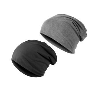 ワッチ ニット帽子2枚 男女兼用 ブラック&グレー 医療用帽子にも最適