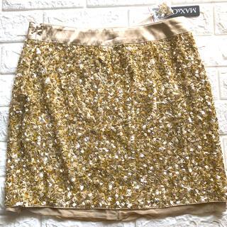 マックスアンドコー(Max & Co.)のタグ付き未使用 Max&Co ゴールド スパンコールスカート(ひざ丈スカート)