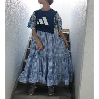 181 アメリカ古着 リメイク スカート ブルー系 ギンガムチェック