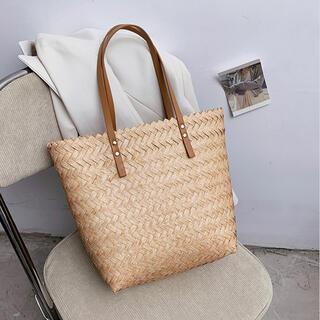 バッグ,手作り籐織りハンドバッグ,大容量 夏