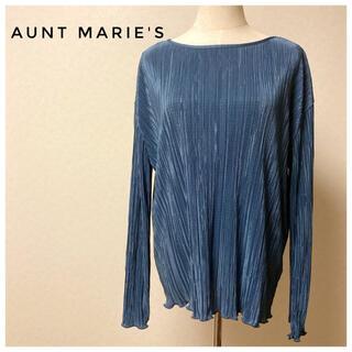 アントマリーズ(Aunt Marie's)の光沢のあるブルー ランダムプリーツ カットソー(カットソー(長袖/七分))
