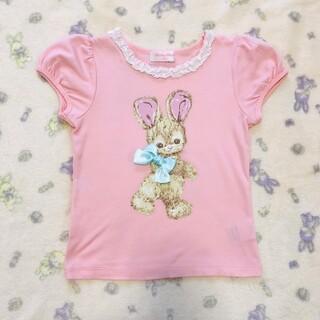 Shirley Temple - 454【120】シャーリーテンプル うさぎカットソー 半袖Tシャツ ピンク