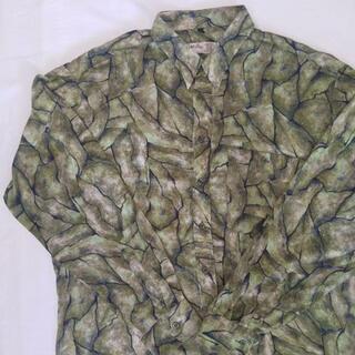 ヴィンテージ 柄シャツ 総柄 長袖 メンズ レーヨン 抽象画 グリーン XL