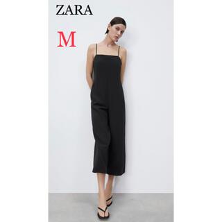 ザラ(ZARA)の【新品未使用】 ザラ ZARA  ストラップワイドレッグジャンプスーツ M(サロペット/オーバーオール)