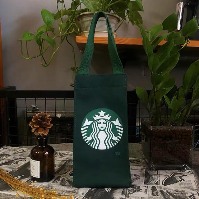 Starbucks Coffee(スターバックスコーヒー)の【スターバックス海外限定】日本未発売 ドリンクバック 小物入れ 緑色 一点 レディースのバッグ(トートバッグ)の商品写真