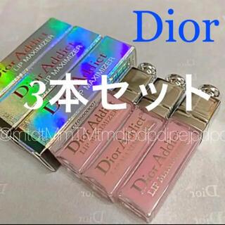 クリスチャンディオール(Christian Dior)のディオール ミニグロス 3本 アディクト リップ マキシマイザー 001 ピンク(リップグロス)