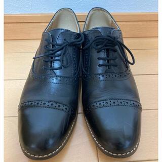 ムジルシリョウヒン(MUJI (無印良品))の無印良品 レザーストレートチップシューズ 婦人S・黒(ローファー/革靴)