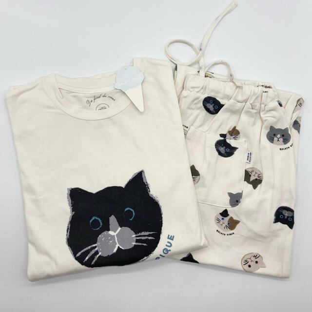 gelato pique(ジェラートピケ)のジェラートピケ 猫モチーフTシャツ&ロングパンツ 上下セット 新品未使用タグ付き レディースのルームウェア/パジャマ(ルームウェア)の商品写真
