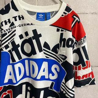 adidas - アディダス 刺繍ロゴ 総柄 tシャツ 半袖 マルチカラー トレフォイル 白