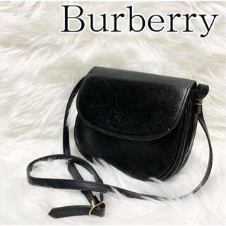 BURBERRY - 美品 OLD Burberry/レザー ショルダーバッグ ポシェット ブラック