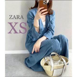 ZARA - 【新品・未使用】ZARA リネンブレンド テクスチャー ワンピース  XS