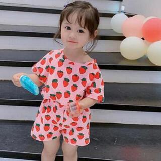韓国 ベビー服 いちご柄 セットアップ 90(パジャマ)