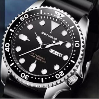 新品 BENNEVIS ダイバーズタイプウォッチ ブラックシルバー メンズ腕時計