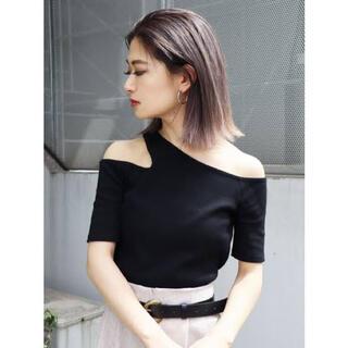 EMODA - EMODA サイドネックTシャツ ブラック