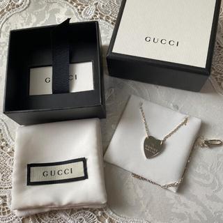 Gucci - GUCCI ハートプレートネックレス シルバー