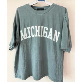 イング(INGNI)のINGNI イング ブルーグリーン ピグメントカレッジTシャツ プリントロゴ M(Tシャツ(半袖/袖なし))