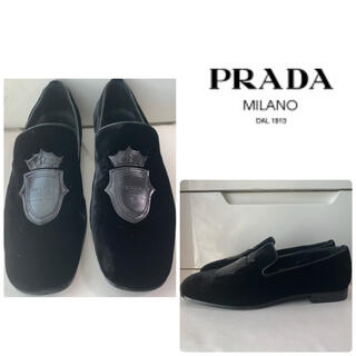 プラダ(PRADA)のプラダ ブラックベロア ロゴ ローファー(ローファー/革靴)