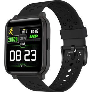 スマートウォッチ 心拍計 万歩計 防水 アプリ通知 睡眠検測 GPS運動記録 黒